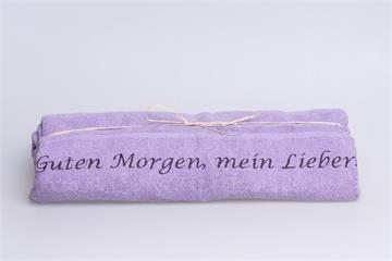 """Duschtuch für Ihn: """"Guten Morgen, mein Lieber!"""" - Duschtuch für ihn lila"""