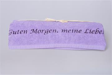 """Duschtuch für Sie: """"Guten Morgen, meine Liebe!"""" - Duschtuch für Sie lila"""