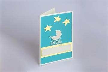 Grusskarte zur Geburt Kinderwagen