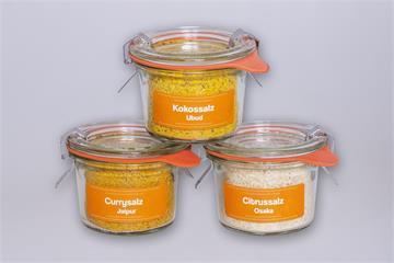 Salzmischungen Asien: Citrussalz-Kokossalz-Currysalz